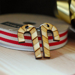 Wooden Candy Cane Earrings - earrings