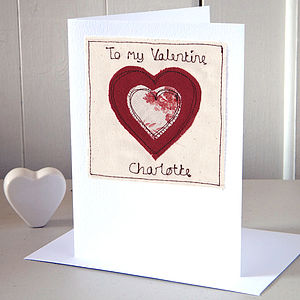 Embroidered Personalised Valentine's Card
