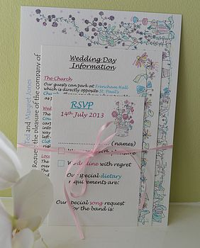 English Garden Wedding Information Cards