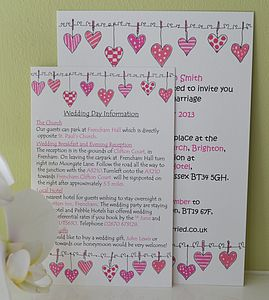 Hearts On The Line Wedding Information Cards - invitations