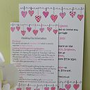 Hearts On The Line Wedding Information Cards