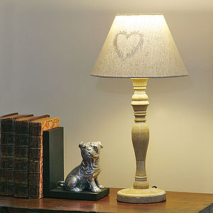 Wooden Lamp With Linen Shade - table & floor lamps