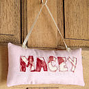 personalised door sign, pink