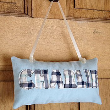 Personalised Embroidered Door Sign For Boys