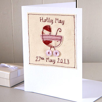 Personalised Embroidered Baby Girl Card