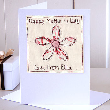 Personalised Embroidered Mother's Day Card