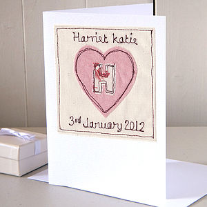Personalised Embroidered Heart Card - cards & wrap