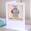 Personalised Embroidered Girl's Birthday Card