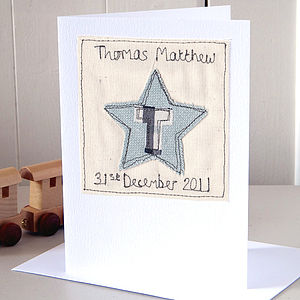 Personalised Embroidered Star Card