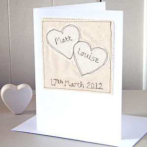 Personalised Embroidered Wedding Card - wedding stationery