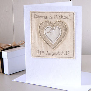 Personalised Embroidered Heart Wedding Card