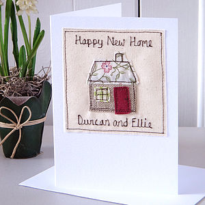 Personalised Embroidered New Home Card