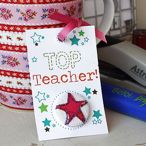 'Top Teacher' Thank You Badge - gifts for teachers