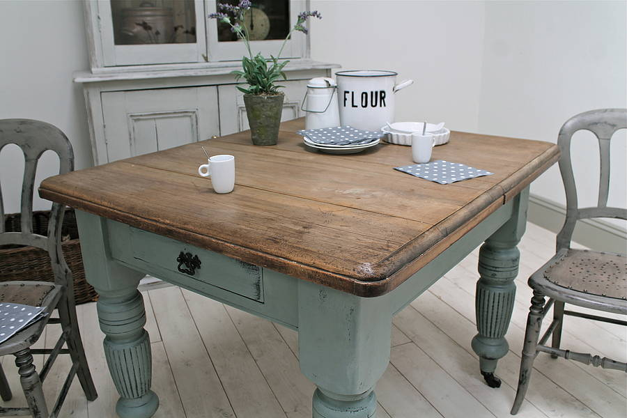 Distressed antique farmhouse kitchen table by distressed but not forsaken - Kitchen tables for small kitchens ...