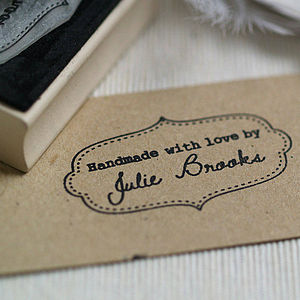 Personalised 'Handmade By' Rubber Stamp - ribbon & wrap