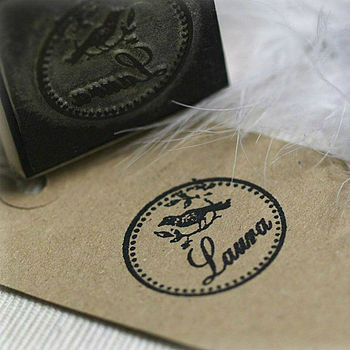Bird Design Personalised Rubber Stamp