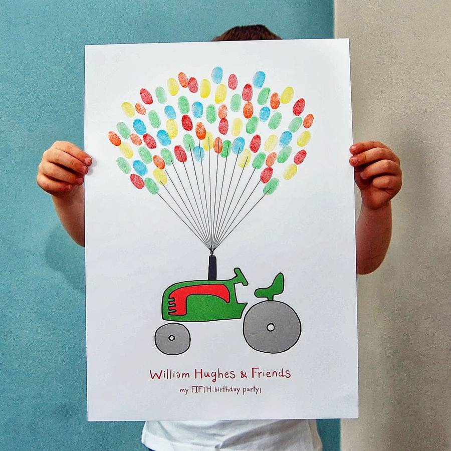 Tractor Fingerprint Balloon Poster