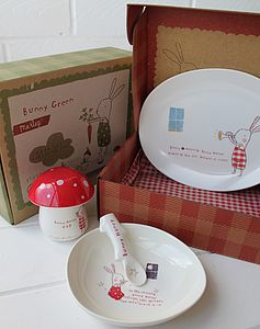 Kids Green Bunny Breakfast Set - children's tableware