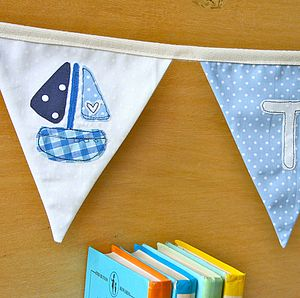 Boy's Personalised Sail Boat Bunting - baby's room