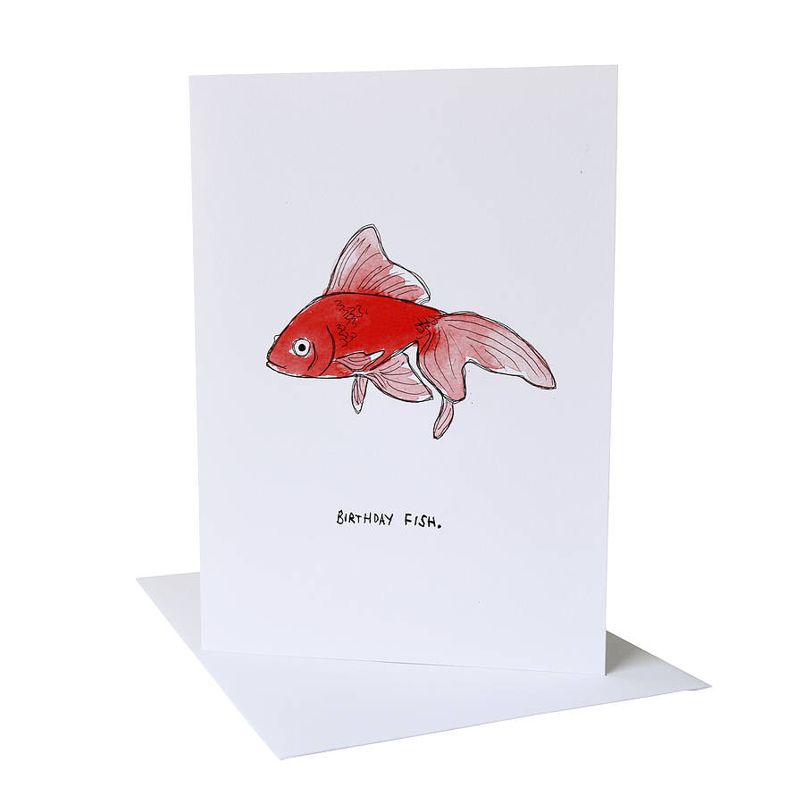 goldfish birthday card by blank inside – Fish Birthday Cards