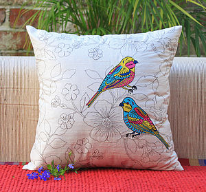 Lovebirds Cushion Cover - embroidered & beaded cushions