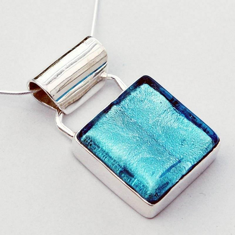 Silver pendant with murano glass square by claudette worters aqua blue mozeypictures Image collections