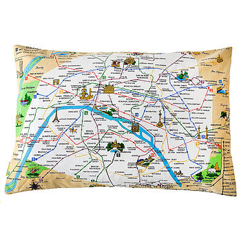 Vintage Paris Metro Map Mid Century Cushion