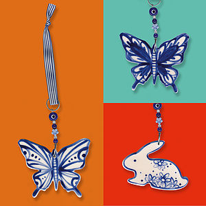 Blue Butterfly Or Bunny Hanging Decoration - ceramics