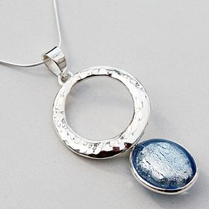 Murano Glass Hammered Circle Silver Pendant