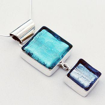Murano Glass Double Square Silver Pendant - Aqua & Ice