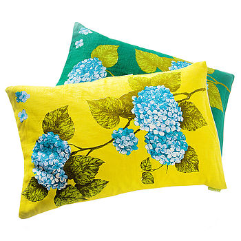 Pair Mid Century Vintage Floral Cushions