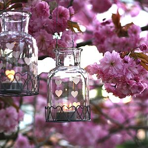 Hanging Heart Bottle Tea Light Holder - candles & candlesticks