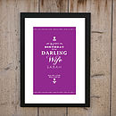 'Happy Birthday To My Darling Wife' Print