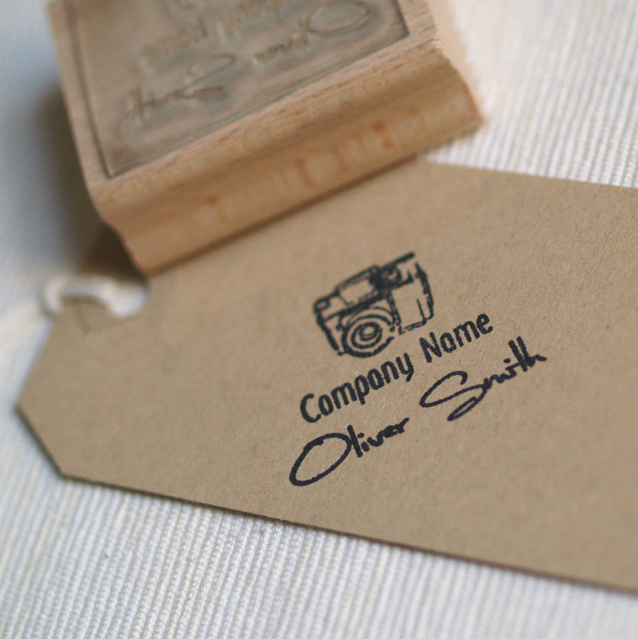 photographer personalised rubber stamp by pretty rubber stamps