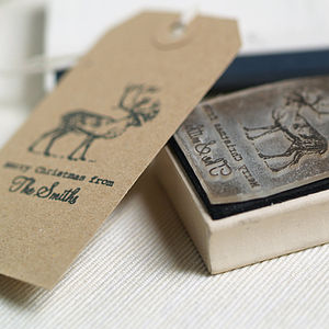 Personalised Christmas Reindeer Stamp - cards