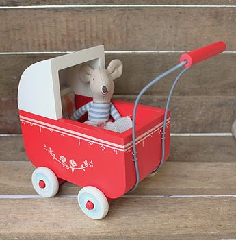 Vintage Style Miniature Red Wooden Pram