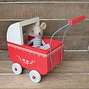 Thumb vintage style red wooden pram