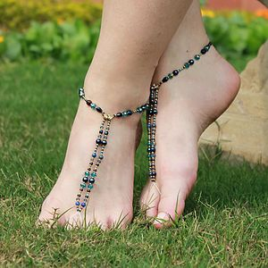 Beaded Foot Jewellery Seductive Blues - shoes