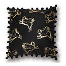 Flying Pug Pompom Cushion Gold & Black