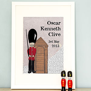 Personalised Birth Date Soldier Print - prints & art