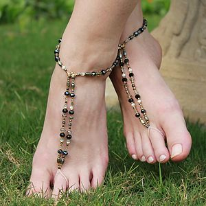 Beaded Foot Jewellery Smokey/ Black Shimmer - sandals