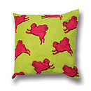 Flying Pug Cushion Cover Pink & Green