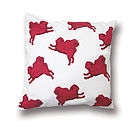 Flying Pug Cushion Cover Pink & White