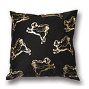 Flying Pug Cushion Cover Black & Gold