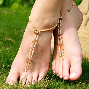 Beaded Foot Jewellery Bridal Ivory/ Taupes - sandals