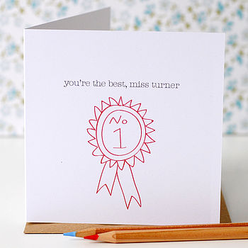 Personalised Thank You Teacher Rosette Card