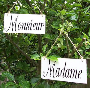 'Monsieur' And 'Madame' French Wedding Signs