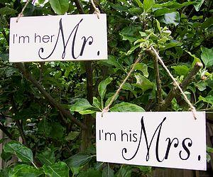'I'm His…' And 'I'm Her…' Wedding Signs - decorative accessories