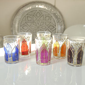 "Set Of Six Moroccan Glass Votives ""Bab' - votives & tea light holders"