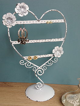 Heart Earring Stand Patchwork Flowers
